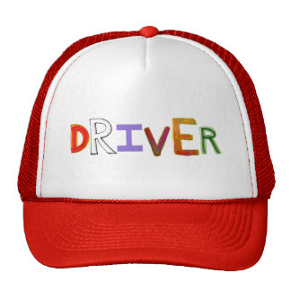 Driver word art colorful unique designated sober cap