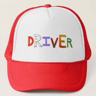 Driver word art colorful unique designated sober trucker hat