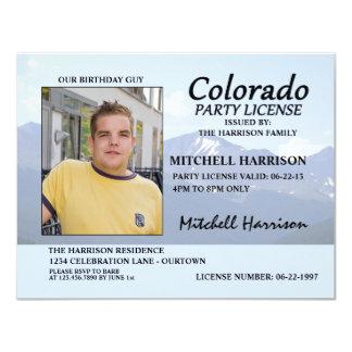 """Drivers License Colorado Birthday Invitations 4.25"""" X 5.5"""" Invitation Card"""