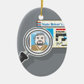 Driver's License under Magnifying glass Ceramic Oval Decoration
