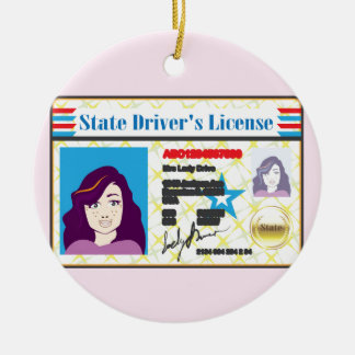 Driver's License Woman photo ID vector Christmas Ornament