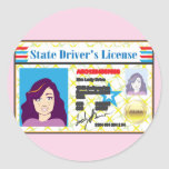 Driver's License Woman photo ID vector Round Sticker