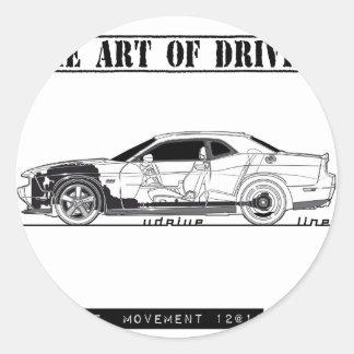 Driving Art Muscle Car Round Sticker