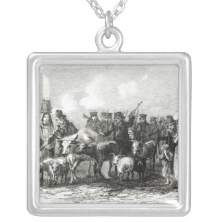 Driving Cattle for Rent Silver Plated Necklace