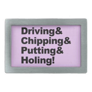 Driving&Chipping&Putting&Holing (blk) Rectangular Belt Buckle