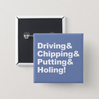 Driving&Chipping&Putting&Holing (wht) 15 Cm Square Badge