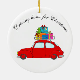 """Driving home for Christmas"" car towing tree Christmas Ornament"