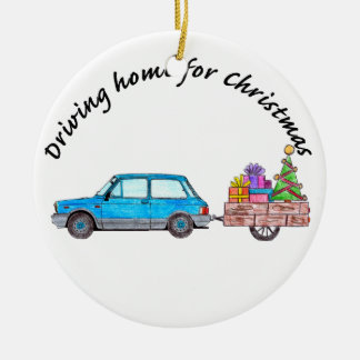 """Driving home for Christmas car with gifts Christmas Ornament"