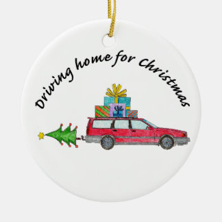 """Driving home for Christmas"" car with gifts Christmas Ornament"