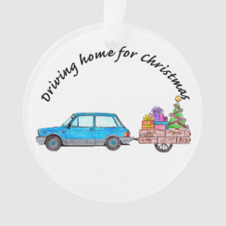 Driving home for Christmas car with gifts Ornament