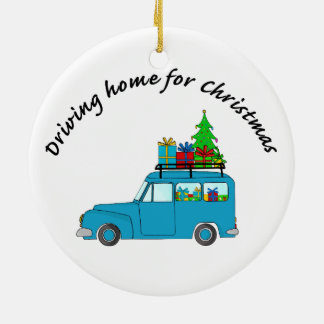 """Driving home for Christmas"" truck with gifts Christmas Ornament"