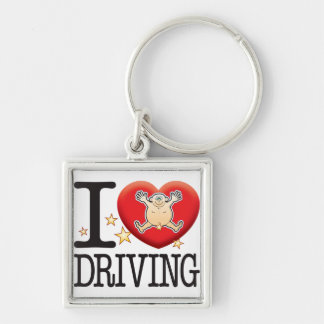 Driving Love Man Silver-Colored Square Key Ring