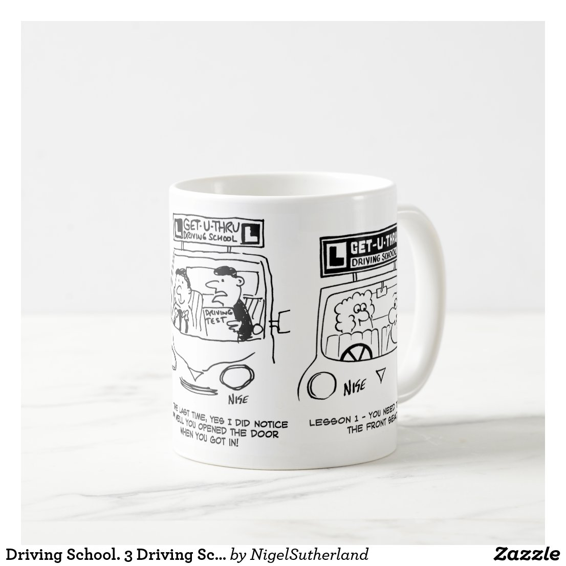 Driving School. 3 Driving School Cartoons. Coffee Mug
