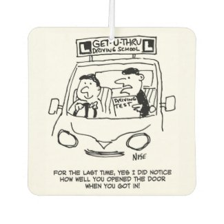 Driving School. Examiner Noticed Door Entry Car Air Freshener