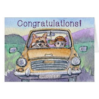 Driving test congratulations, corgi dog driving card