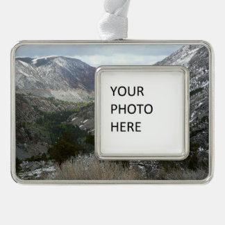 Driving Through the Snowy Sierra Nevada Mountains Silver Plated Framed Ornament