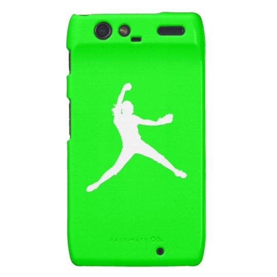 Droid RAZR Fastpitch Silhouette White/Green Motorola Droid RAZR Cases