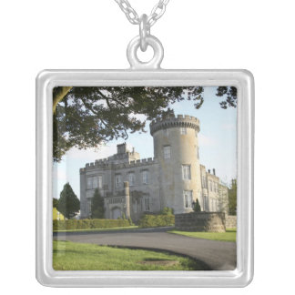 Dromoland Castle side entrance with no people Silver Plated Necklace