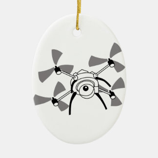 Drone Quadocopter Ceramic Oval Decoration