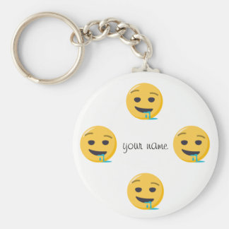 """Drool Emoji Face  and '' Your Name Here """" Key Ring"""