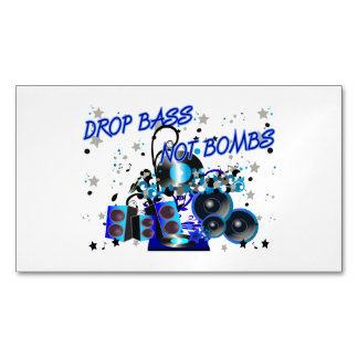 Drop Bass Not Bombs Music vs Violence Magnetic Business Cards