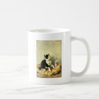 Drop cat basic white mug