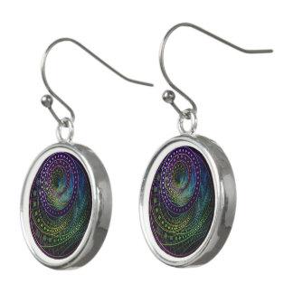 Drop Earrings with a Technicolor Fractal Rainbow