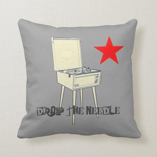 Drop the needle retro vinyl pillow cushion