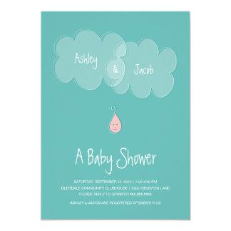 Droplet Baby Shower Invitation Aqua/Pink