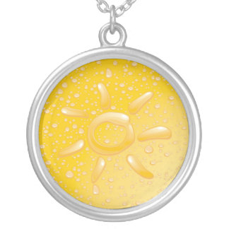 Droplets and The Sun Silver Plated Necklace