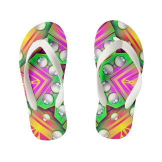 Drops Water On A Colorful Abstract Background Kid's Flip Flops