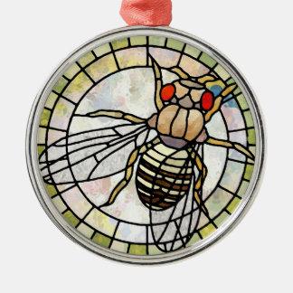 Drosophila Silver-Colored Round Decoration