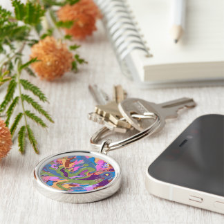 """""""Drowning"""" Abstract Art Silver-Colored Round Key Ring"""