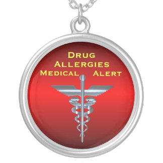 Drug Allergies Medical Alert Asclepius Caduceus Ne Silver Plated Necklace
