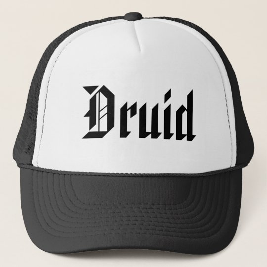 Druid. Nice Gothic Font. Black and White Trucker