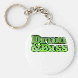 Drum and Bass Green Basic Round Button Key Ring