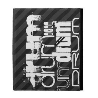Drum; Black & Dark Gray Stripes iPad Folio Covers