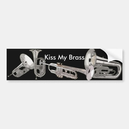 Drum Corps - Marching Band - Kiss My Brass Bumper Sticker