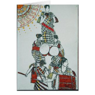 Drum Dancing Girls Greetings Card
