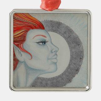 Drum Goddess Silver-Colored Square Decoration