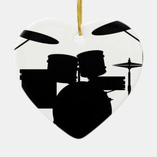 Drum Kit Ceramic Heart Decoration