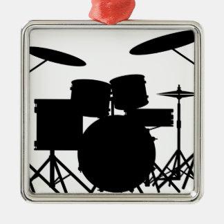 Drum Kit Silver-Colored Square Decoration