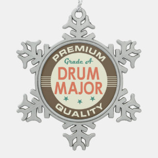 Drum Major Music Band Gift Snowflake Pewter Christmas Ornament