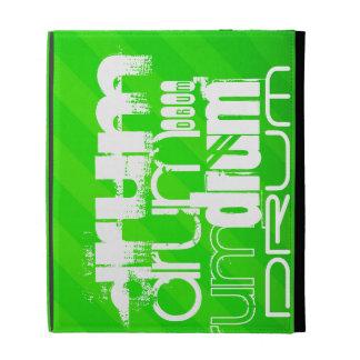 Drum; Neon Green Stripes iPad Folio Covers