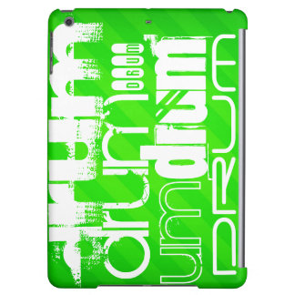 Drum; Neon Green Stripes Cover For iPad Air