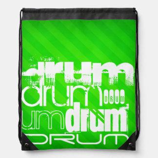 Drum; Neon Green Stripes Drawstring Backpacks