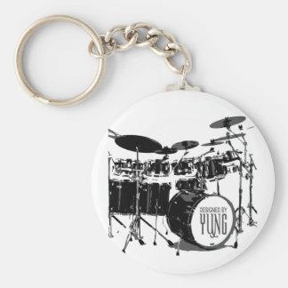 Drum Set Basic Round Button Key Ring