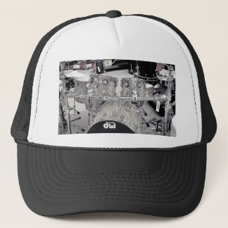Drum set drawing trucker hat
