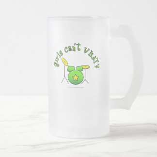 Drum Set - Green Frosted Glass Beer Mug