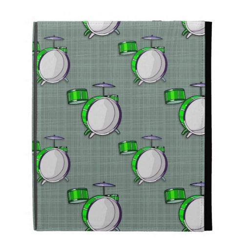 Drum Set; Neon Green Drums iPad Folio Covers